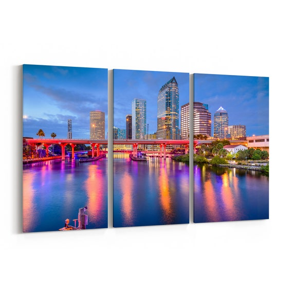 Tampa Canvas Art Tampa Wall Art Canvas Florida Multiple Sizes Wrapped Canvas on Wooden Frame