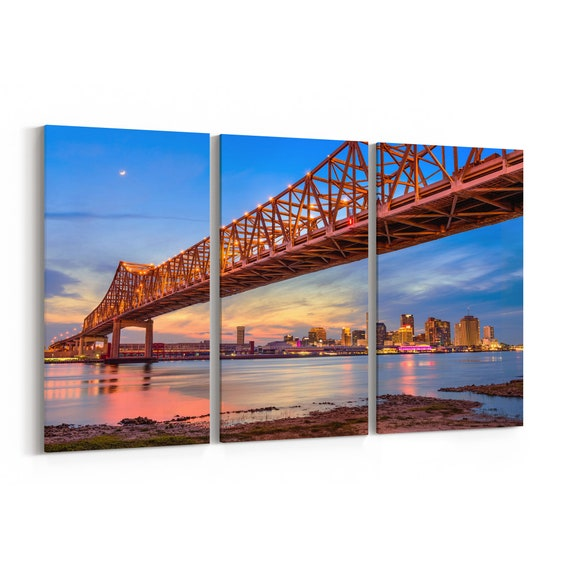 New Orleans Crescent City Connection Bridge Skyline Canvas New Orleans Canvas Print Louisiana Multiple Sizes Wrapped Canvas on Wooden Frame