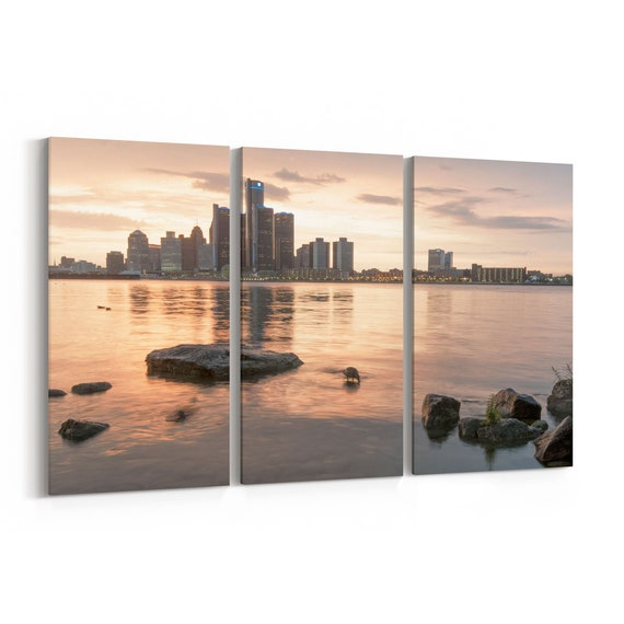 Detroit Skyline Canvas Detroit Canvas Wall Art Multiple Sizes Wrapped Canvas on Wooden Frame
