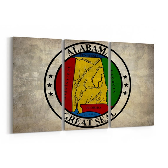Alabama State Seal Wall Art Canvas Alabama State Seal Canvas Print Multiple Sizes Wrapped Canvas on Wooden Frame