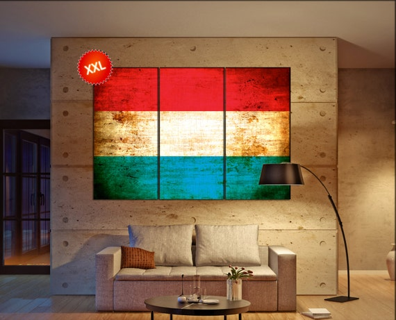 Luxembourg flag canvas art print large  canvas print Luxembourg flag country flag Wall Home office decor interior Office Decor