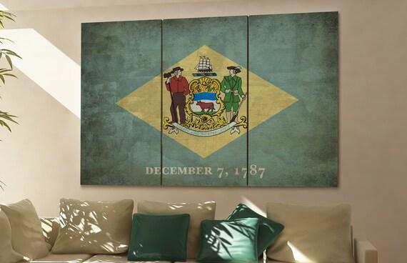 Delaware state flag Delaware flag state of Delaware Delaware wall decor Delaware wall art Delaware gift
