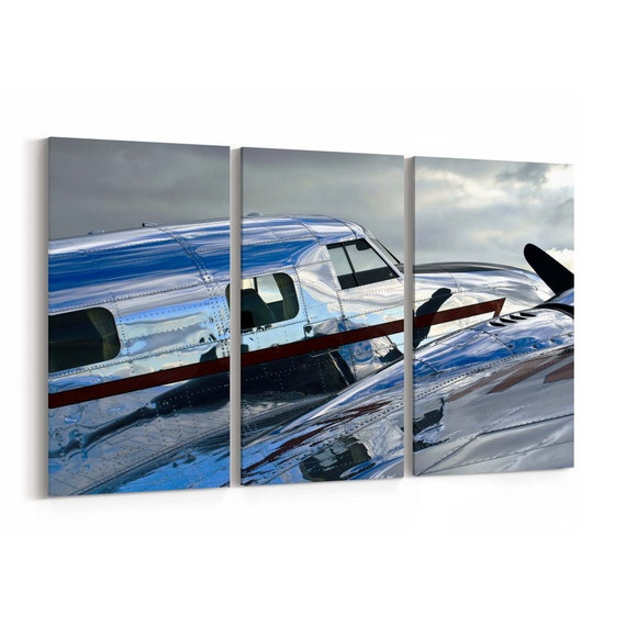 Vintage Airplane Canvas Print Vintage Airplane Wall Art Canvas Multiple Sizes Wrapped Canvas on Wooden Frame