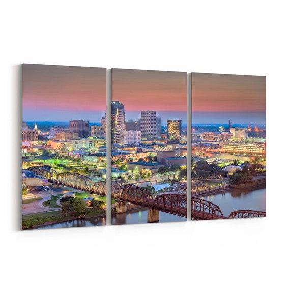 Shreveport Skyline Wall Art Shreveport Canvas Print Louisiana Multiple Sizes Wrapped Canvas on Wooden Frame