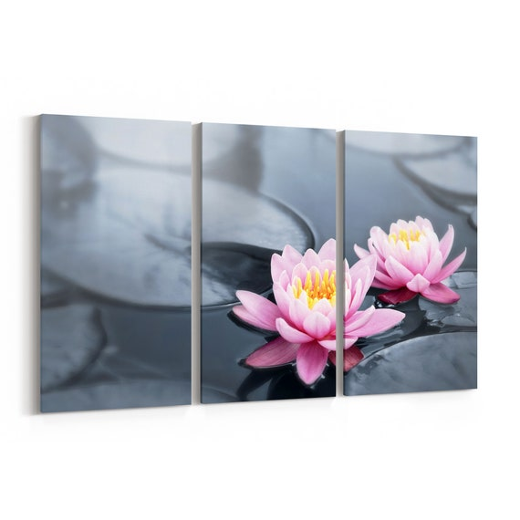 Lotus Blossoms Canvas Print Lotus Blossoms Wall Art Canvas Multiple Sizes Wrapped Canvas on Wooden Frame