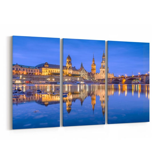 Dresden Skyline Wall Art Dresden Canvas Print Germany Multiple Sizes Wrapped Canvas on Wooden Frame
