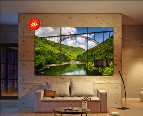 The New River Gorge Bridge, West Virginia Large  canvas wall art print fine art 3 / 5 panels wall decoration