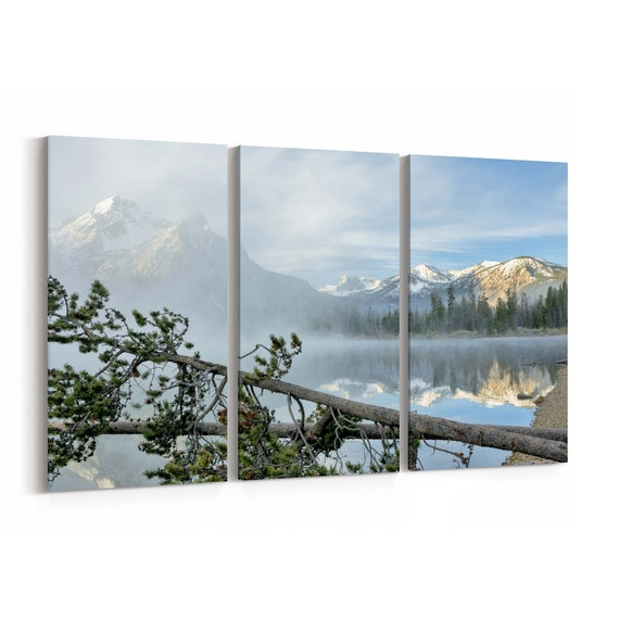 Stanley Lake Canvas Print Stanley Lake Wall Art Canvas Idaho Multiple Sizes Wrapped Canvas on Wooden Frame