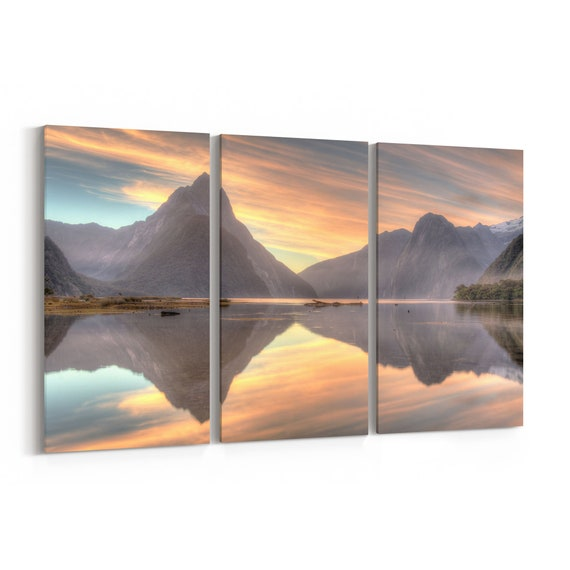 Lake and Mountains Canvas Print Lake and Mountains Wall Art Canvas New Zealand Multiple Sizes Wrapped Canvas on Wooden Frame