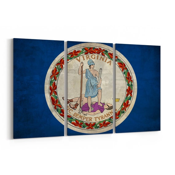 Virginia State Flag Canvas Print Virginia State Flag Wall Art Canvas Multiple Sizes Wrapped Canvas on Wooden Frame