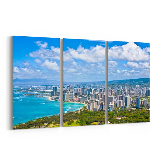 Oahu Skyline Wall Art Oahu Canvas Print Multiple Sizes Wrapped Canvas on Wooden Frame