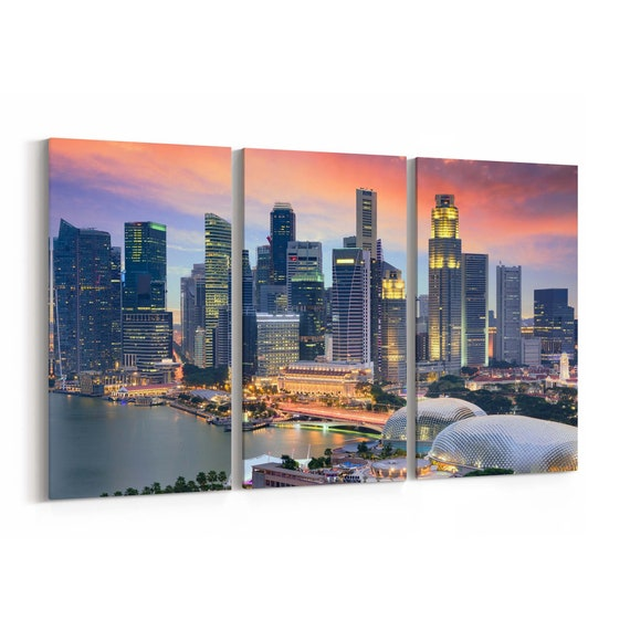 Singapore Canvas Print Singapore Wall Art Canvas Multiple Sizes Wrapped Canvas on Wooden Frame