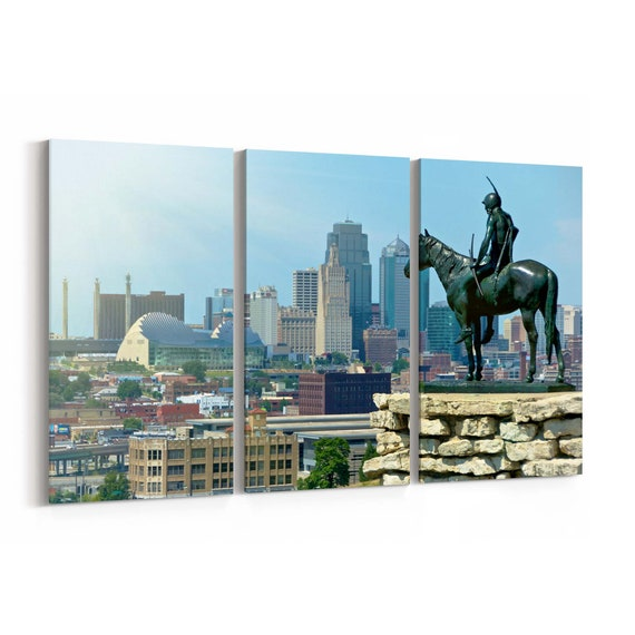 Kansas City Canvas Print Kansas City Wall Art Canvas Multiple Sizes Wrapped Canvas on Wooden Frame
