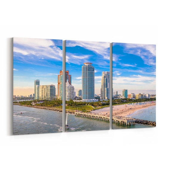South Beach Skyline Wall Art South Beach Canvas Print Miami Multiple Sizes Wrapped Canvas on Wooden Frame