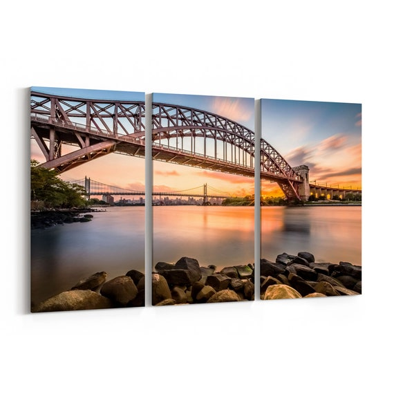 Hell Gate Bridge Skyline Wall Art Hell Gate Bridge Canvas Print New York Multiple Sizes Wrapped Canvas on Wooden Frame