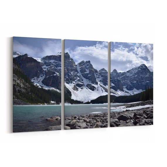 Lake Moraine Canvas Print Lake Moraine Wall Art Canvas Valley of the Ten Peaks Multiple Sizes Wrapped Canvas on Wooden Frame