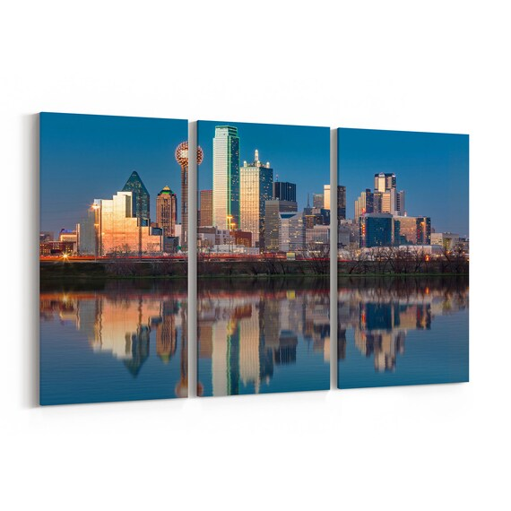 Dallas Skyline Canvas Dallas Canvas Wall Art Multiple Sizes Wrapped Canvas on Wooden Frame