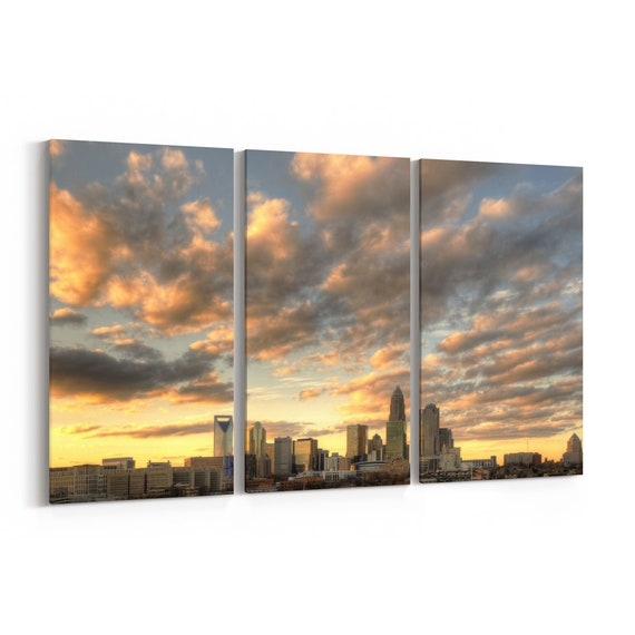 Charlotte Skyline Canvas Charlotte Canvas Print North Carolina Multiple Sizes Wrapped Canvas on Wooden Frame