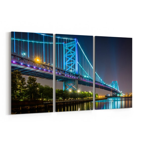 Benjamin Franklin Bridge Canvas Print Benjamin Franklin Bridge Wall Art Canvas Multiple Sizes Wrapped Canvas on Wooden Frame