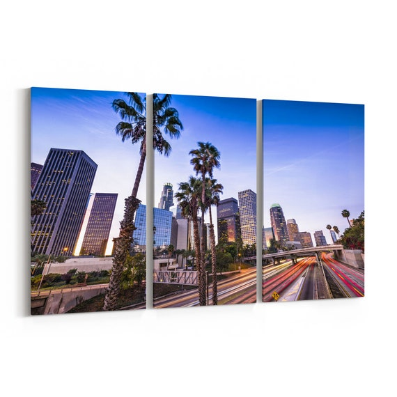 Los Angeles Canvas Print California Multiple Sizes Wrapped Canvas on Wooden Frame