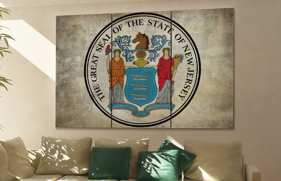 new jersey seal flag  canvas new jersey seal flag wall decoration new jersey seal flag canvas art new jersey seal flag large canvas