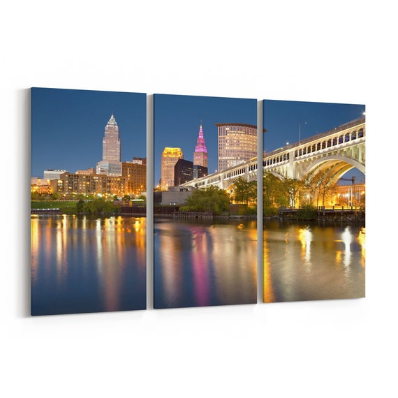 Cleveland Skyline Canvas Cleveland Canvas Wall Art Multiple Sizes Wrapped Canvas on Wooden Frame