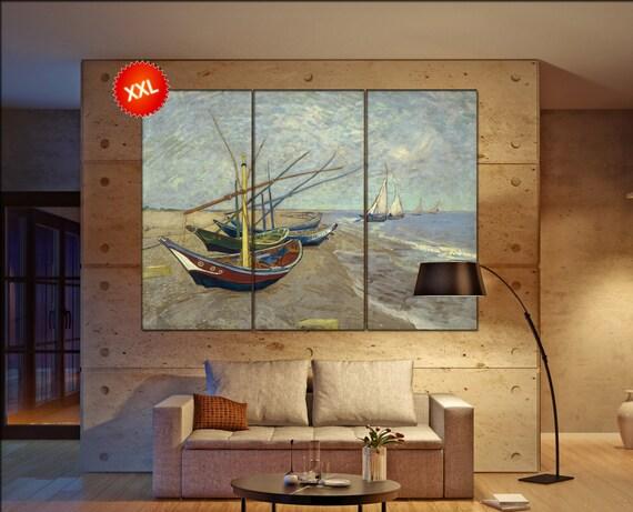 Saintes-Maries Fishing boats van gogh  print canvas wall art Large Saintes-Maries Fishing boats art artwork large art office decoration