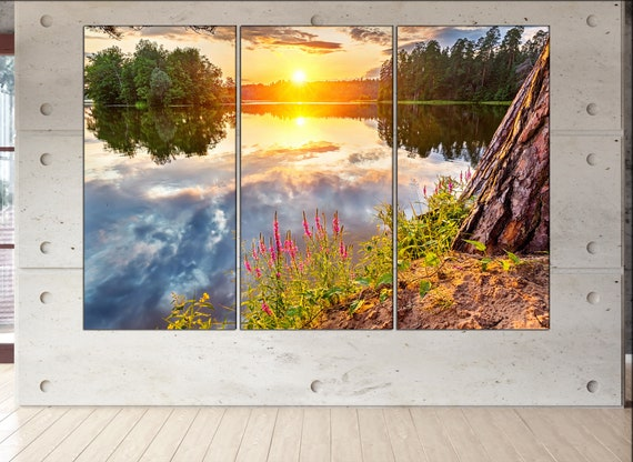 lake in a forest  canvas wall art lake in a forest wall decoration lake in a forest canvas wall art art large canvas wall art  wall decor