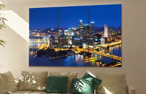 PIttsburgh cityscape PIttsburgh skyline PIttsburgh wall art PIttsburgh art PIttsburgh downtown