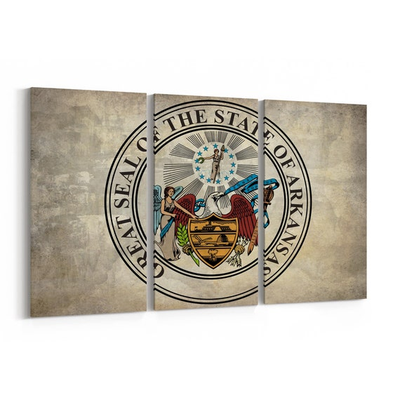 Arkansas State Seal Wall Art Canvas Arkansas State Seal Canvas Print Multiple Sizes Wrapped Canvas on Wooden Frame