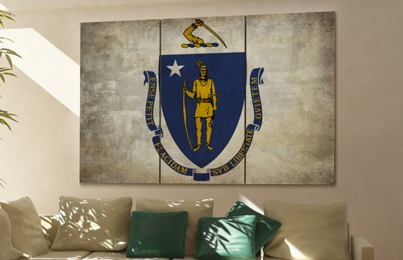 Massachusetts state flag Massachusetts flag state of Massachusetts Massachusetts wall decor Massachusetts wall art Massachusetts gift