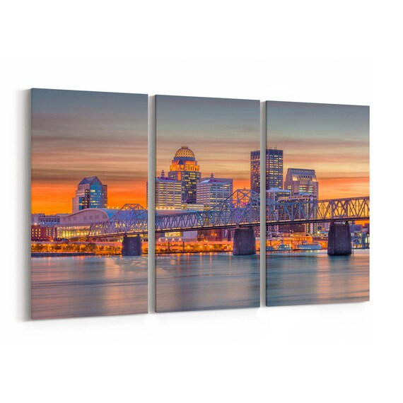 Louisville Skyline Wall Art Canvas Louisville Canvas Print Kentucky Multiple Sizes Wrapped Canvas on Wooden Frame