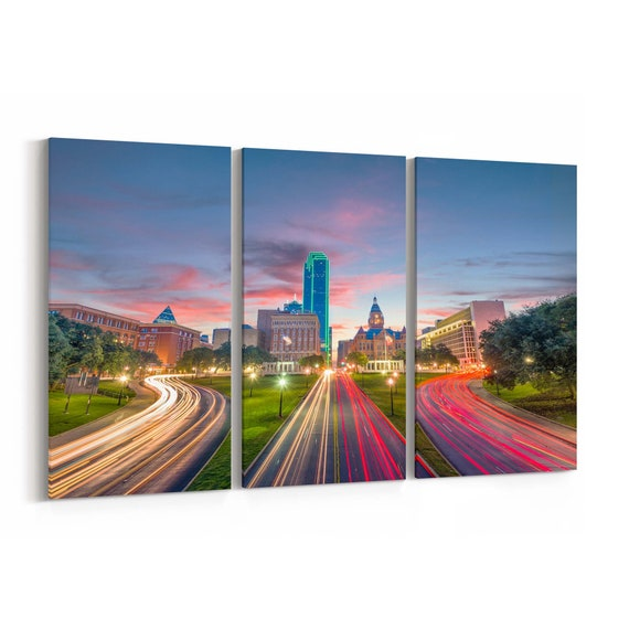 Dallas Canvas Print Dallas Wall Art Canvas Texas Multiple Sizes Wrapped Canvas on Wooden Frame
