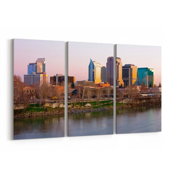 Sacramento Skyline Wall Art Canvas Sacramento Canvas Print Multiple Sizes Wrapped Canvas on Wooden Frame