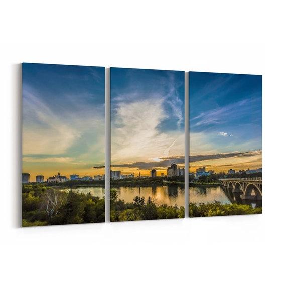 Saskatoon Skyline Wall Art Saskatoon Canvas Print Multiple Sizes Wrapped Canvas on Wooden Frame