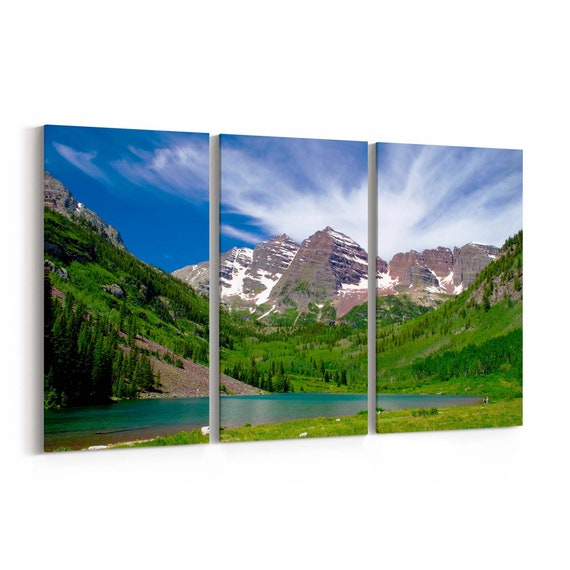 Maroon Bells Wall Art Canvas Maroon Bells Canvas Print Multiple Sizes Wrapped Canvas on Wooden Frame