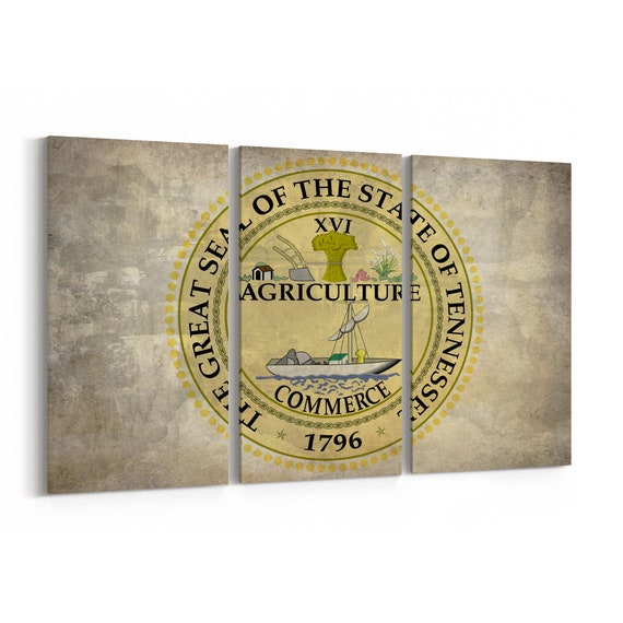 Tennessee State Seal Wall Art Canvas Tennessee State Seal Canvas Print Multiple Sizes Wrapped Canvas on Wooden Frame