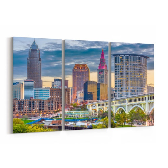 Cleveland Skyline Wall Art Canvas Cleveland Canvas Print Ohio Multiple Sizes Wrapped Canvas on Wooden Frame