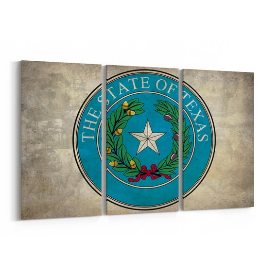 Texas State Seal Wall Art Canvas Texas State Seal Canvas Print Multiple Sizes Wrapped Canvas on Wooden Frame