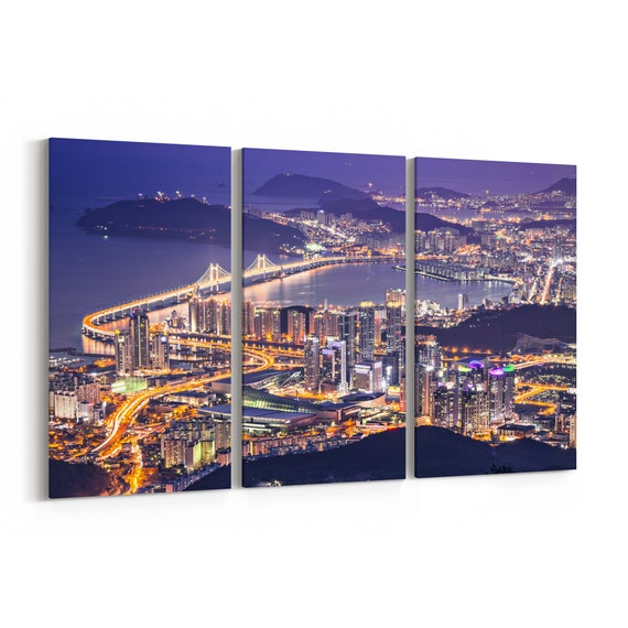 Busan Skyline Wall Art Canvas Busan Canvas Print Multiple Sizes Wrapped Canvas on Wooden Frame