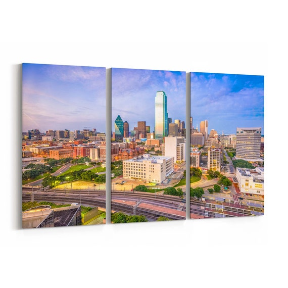 Dallas Skyline Wall Art Canvas Dallas Canvas Print Texas Multiple Sizes Wrapped Canvas on Wooden Frame