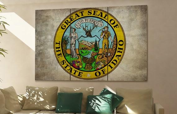 Idaho seal flag  canvas Idaho seal flag  wall decoration Idaho seal flag  canvas art Idaho seal flag  large canvas