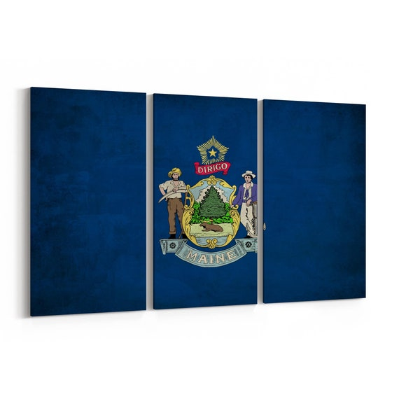 Maine State Flag Canvas Print Maine State Flag Wall Art Canvas Multiple Sizes Wrapped Canvas on Wooden Frame