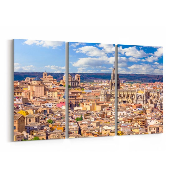 Toledo Skyline Wall Art Canvas Toledo Canvas Print Spain Multiple Sizes Wrapped Canvas on Wooden Frame