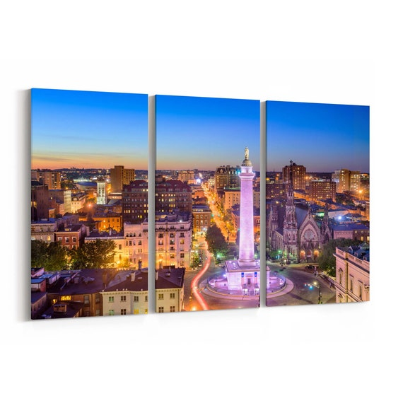 Baltimore Skyline Wall Art Canvas Baltimore Canvas Print Multiple Sizes Wrapped Canvas on Wooden Frame