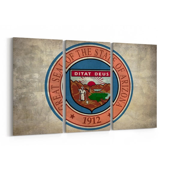 Arizona State Seal Wall Art Canvas Arizona State Seal Canvas Print Multiple Sizes Wrapped Canvas on Wooden Frame