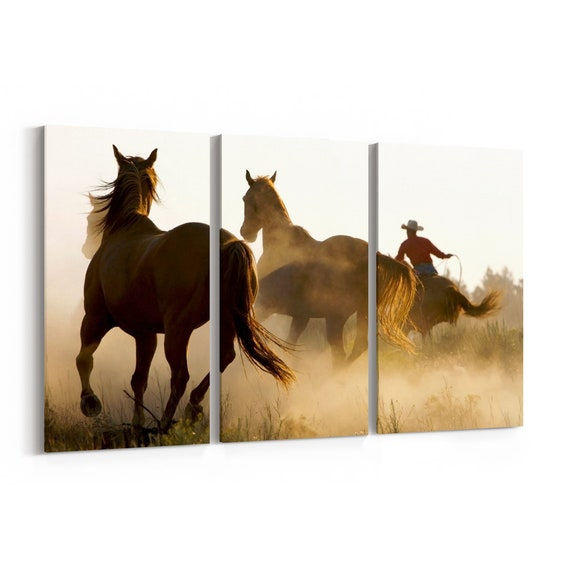 Wild Horses Canvas Print Wild Horses Wall Art Canvas Multiple Sizes Wrapped Canvas on Wooden Frame