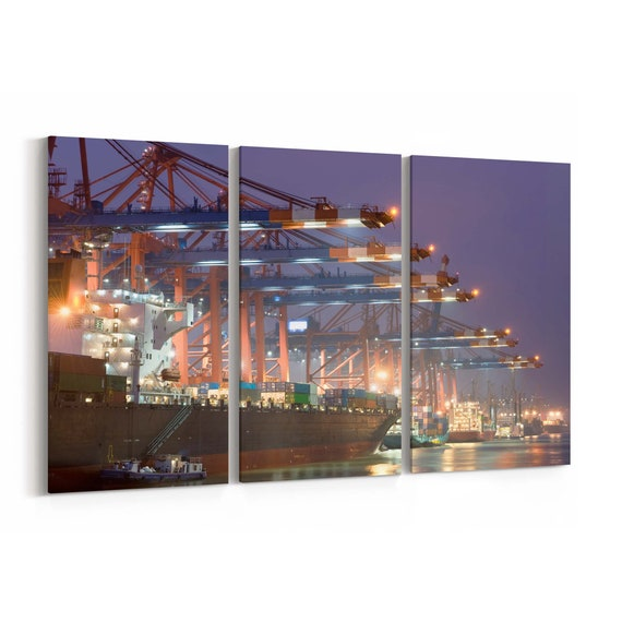 Ship in Harbor Canvas Print Ship in Harbor Wall Art Canvas Multiple Sizes Wrapped Canvas on Wooden Frame
