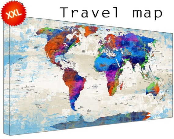 Personalized World Travel Map canvas wall art art print large  Personalized World Travel Map home Office Decor print on canvas wall art