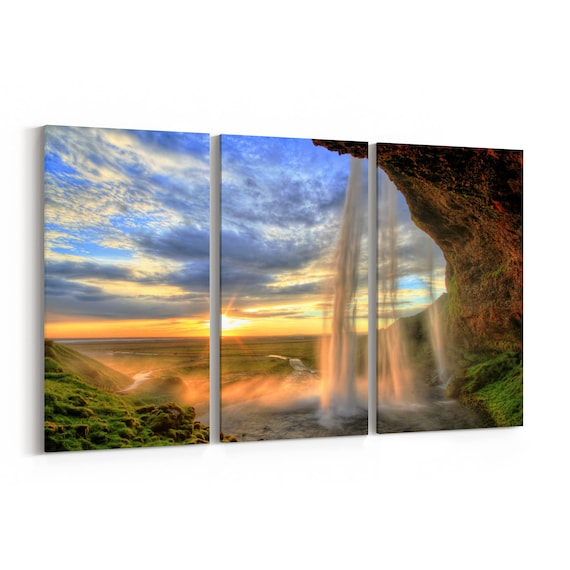Waterfall Canvas Print Waterfall Canvas Wall Art Multiple Sizes Wrapped Canvas on Wooden Frame